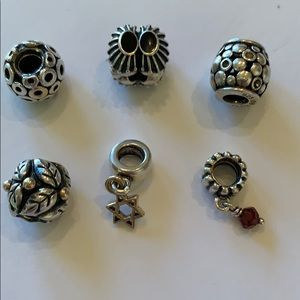 6 Pandora Sterling Silver Charms